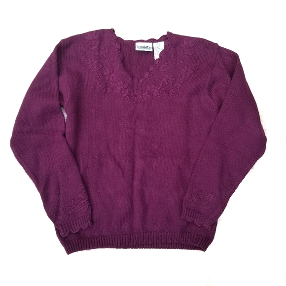 90s sweater burgundy v neck floral embroidery S